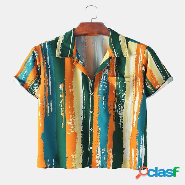 Hombre casual rayas acuarela estampado tie-dye delgado camisa
