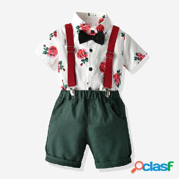 3 piezas de caballeros para niños con estampado camisa + tirantes cortos pantalones traje de cumpleaños para 2-10 años