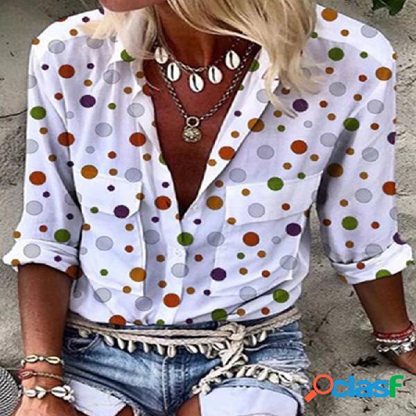 Blusa de botones de manga larga con solapa estampada de lunares