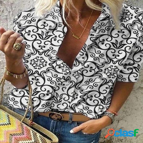 Vendimia blusa de manga larga con botones de solapa estampada