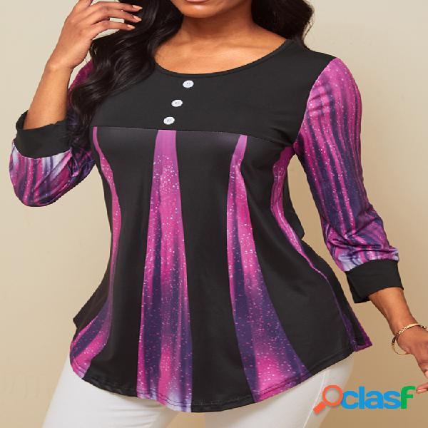 Blusa estampada de manga larga con botones y cuello en o