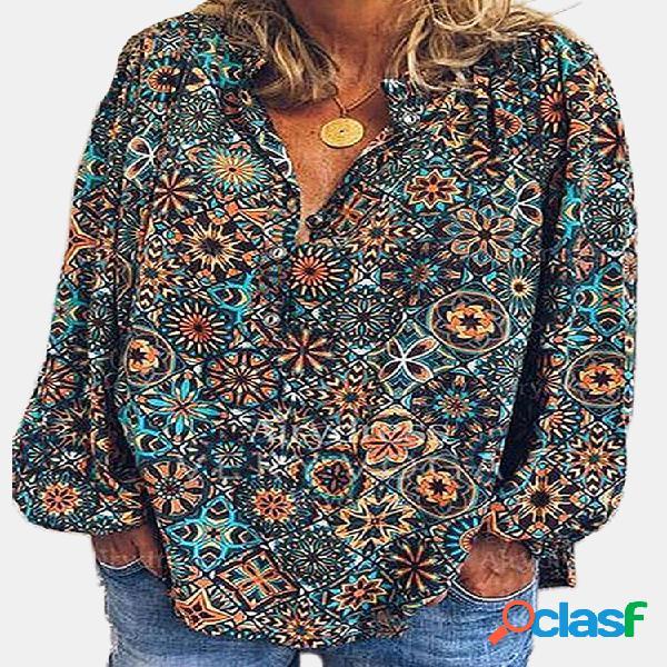 Vendimia blusa estampada de manga larga con cuello alto para mujer