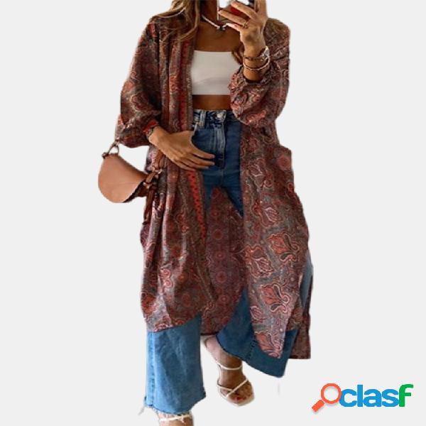 Cárdigan de manga larga con estampado bohemio para mujer