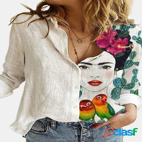 Blusa de manga larga con botones y cuello de solapa estampada de dibujos animados