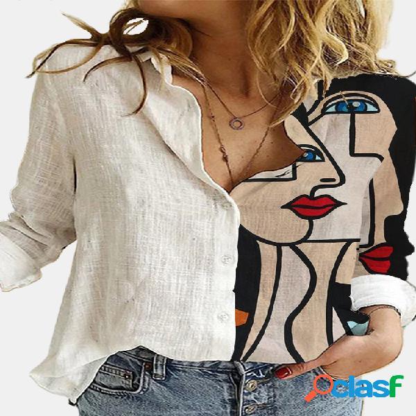 Vendimia blusa estampada con botones y cuello alto de manga larga