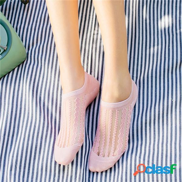 Mujer verano transparente transpirable barco calcetines tobillo de rayas de color liso calcetines