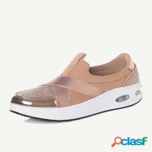 Zapatos de plataforma sin cordones con suela rocker y diamantes de imitación cruzados