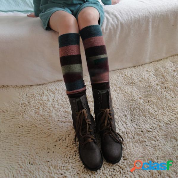 Compresión para mujer calcetines cachemira de lana a rayas calcetines conjunto hasta la rodilla botas conjunto hasta la rodilla calcetines
