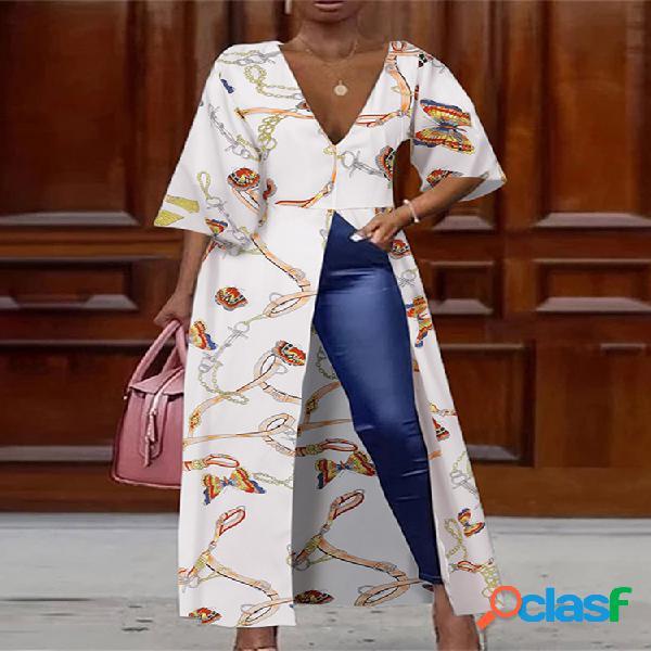 Blusa larga estampada asimétrica profunda v dividida plus tamaño