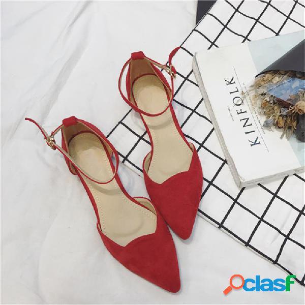 Zapatos casuales de gamuza con punta puntiaguda de color sólido para mujer