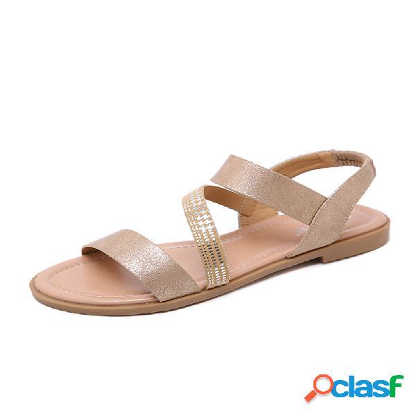 Zapatos planos elásticos de color sólido para mujer sandalias