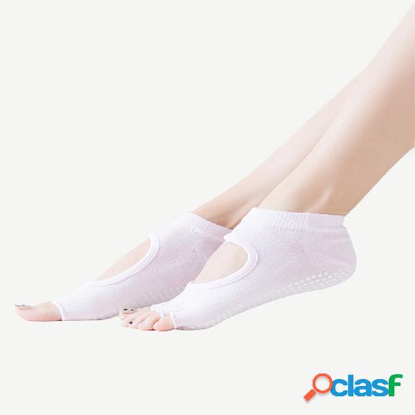 Mujer yoga ballet dance sports five toe algodón antideslizante calcetines