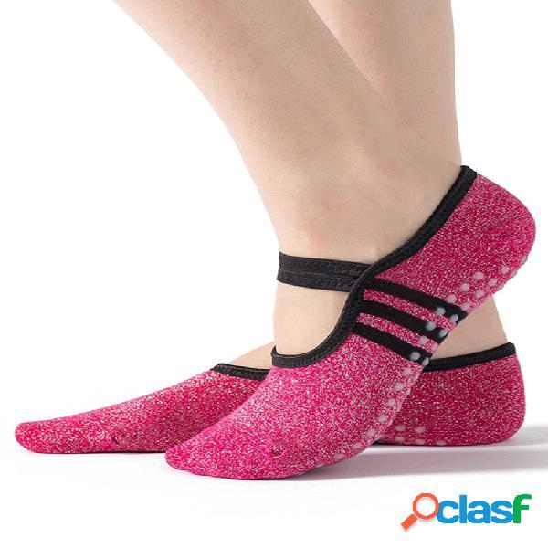 Mujer yoga puntos de agarre antideslizantes para tobillo pilates aptitud gym calcetines