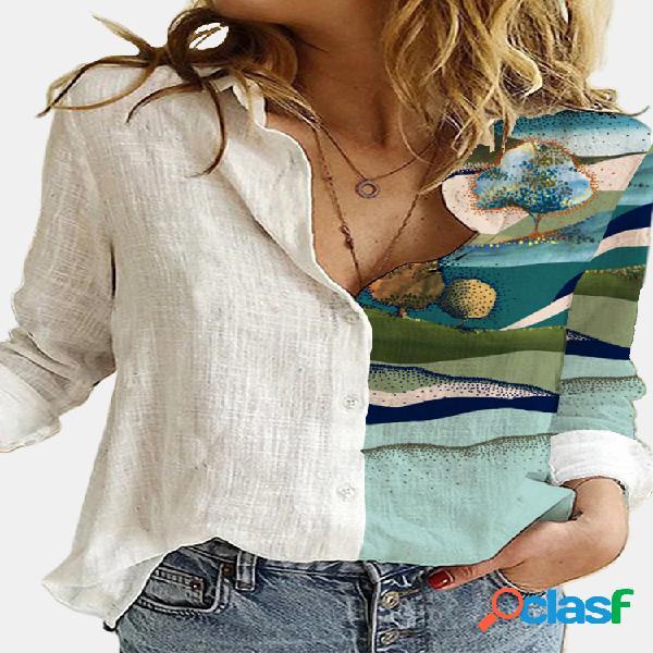 Blusa de patchwork con cuello vuelto y manga larga estampada con plantas para mujer