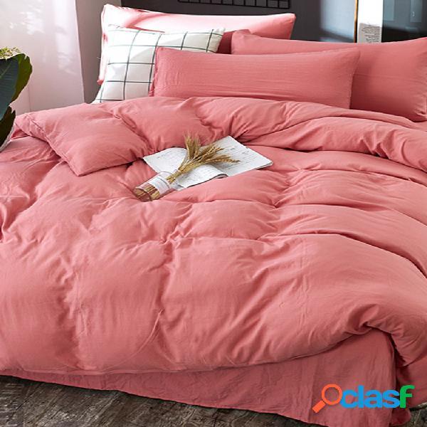 3/4 piezas de algodón que no imprime lavado de piel de cuatro piezas funda de edredón juegos de cama cama doble individual de tres piezas
