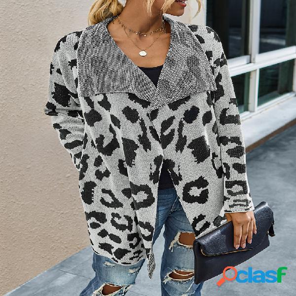 Cárdigan de cuello de solapa de manga larga con estampado de leopardo para mujer