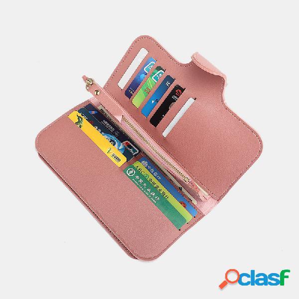 Mujer cuero de pu ranuras para tarjetas múltiples teléfono para tarjetas fotográficas bolsa monedero con clip para dinero
