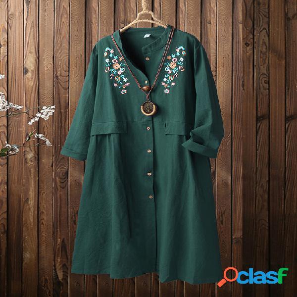 Abrigo fino con botones de cuello redondo y bordado floral vintage