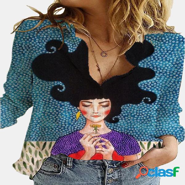 Vendimia blusa estampada de manga larga con cuello vuelto para mujer