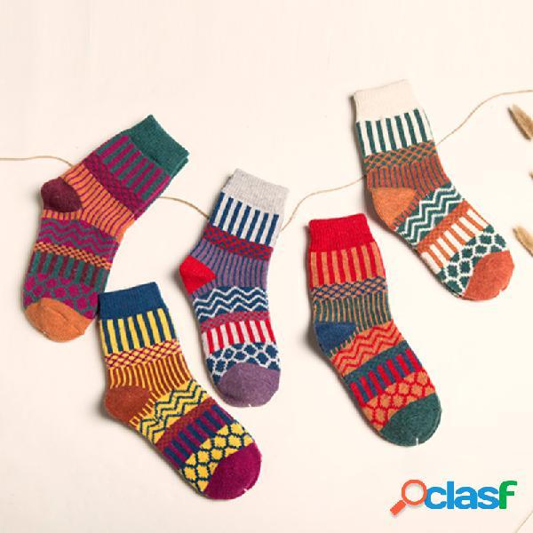 Casual vaina tribal mujer calcetines cinco pares para un conjunto