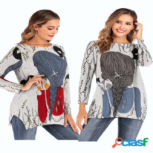 Temporada nueva camiseta de manga larga redonda de punto estampada europea y americana cuello para mujer camisa