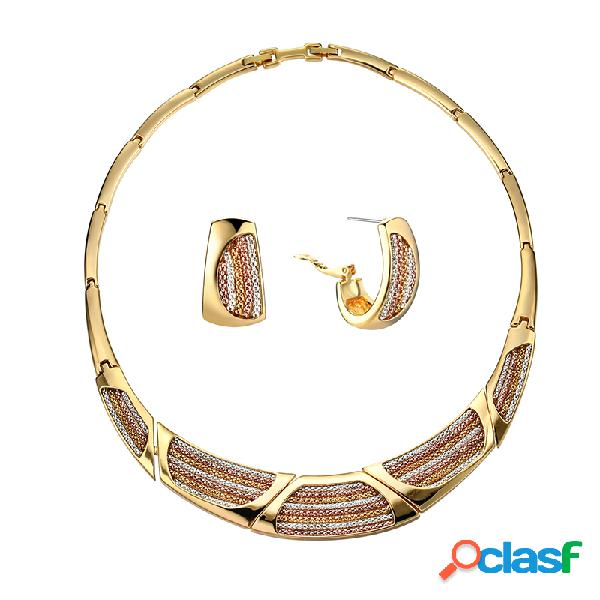 Collar geométrico plateado oro de las mujeres pendientes coloridos de la cadena collar lujoso de la joyería