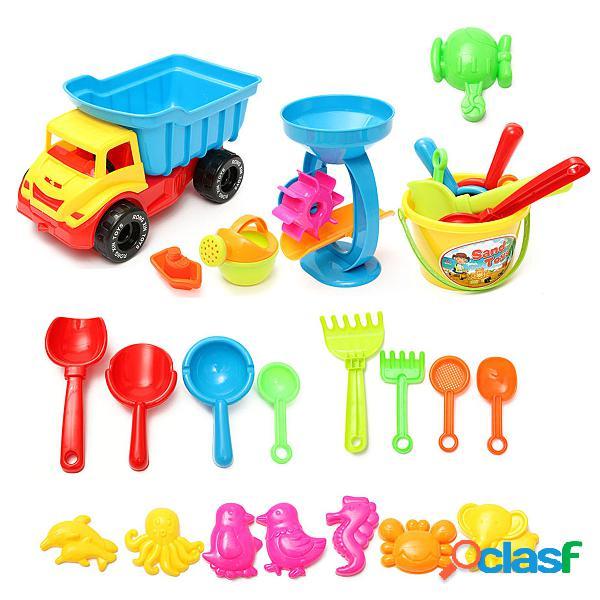 Los juguetes del juego de la arena de la playa 21pcs fijaron el molde de la poder de riego de la rueda de la arena del rastrillo