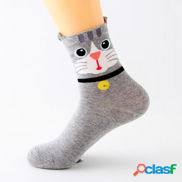 Mujer cute cartoon ears gato patrón calcetines transpiración y desodorización cómodo calcetines