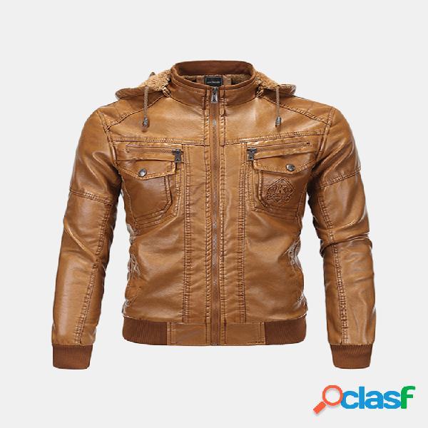 Chaqueta de cuero con capucha desmontable con capucha y bolsillo vintage para hombres en piel de moto moto