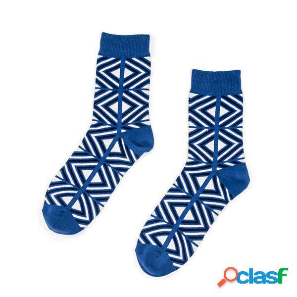 Para mujer para hombre de algodón estilo étnico retro aguja gruesa multicolor medio tubo calcetines casuales alto tobillo