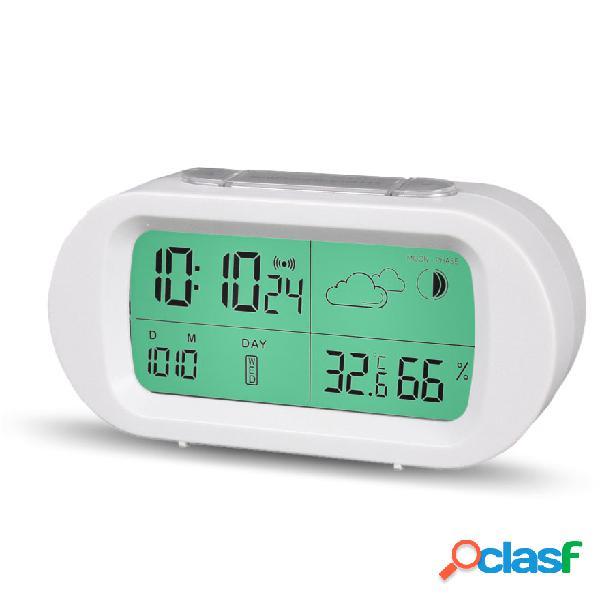 Termómetro de tiempo digital loskii hc-102 fecha pantalla de tiempo reloj despertador reloj despertador con pantalla lcd