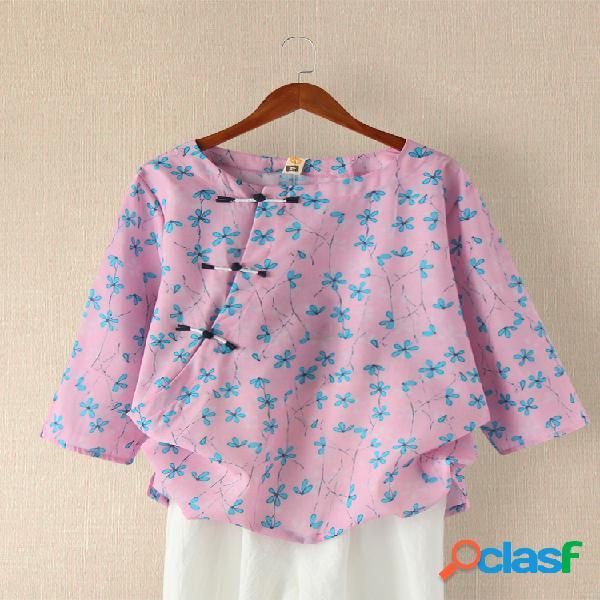 Blusa estampada floral de manga larga con cuello redondo y blusa con botones para mujer
