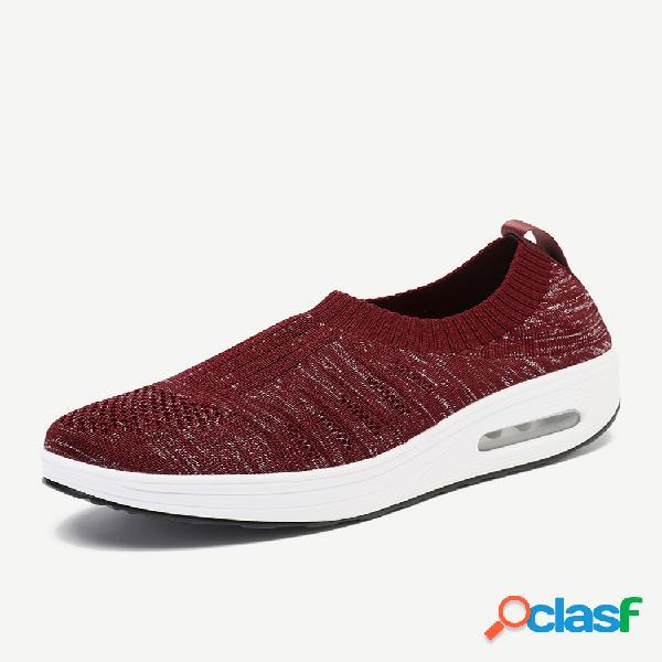 Zapatos de plataforma con suela de balancín antideslizantes transpirables de malla de gran tamaño al aire libre
