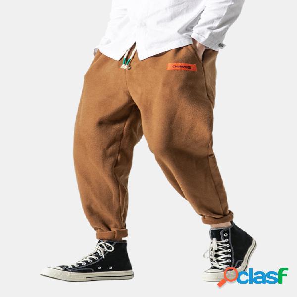 Forro polar para hombre estilo chino cálido delgado cordón recto recto pantalones