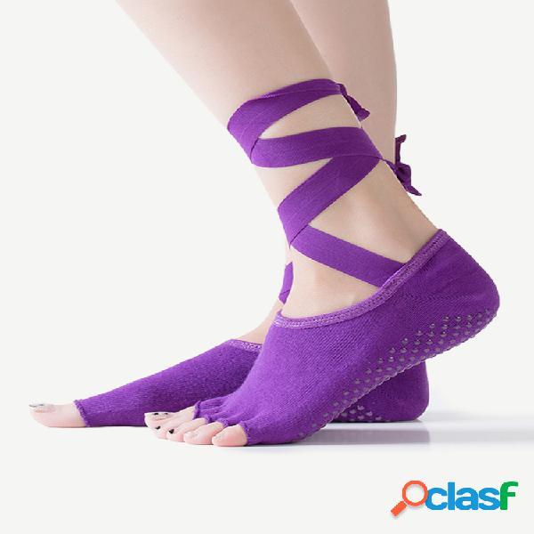 Mujer algodón yoga corbata de baile con cinco dedos abiertos pierna antideslizante calcetines