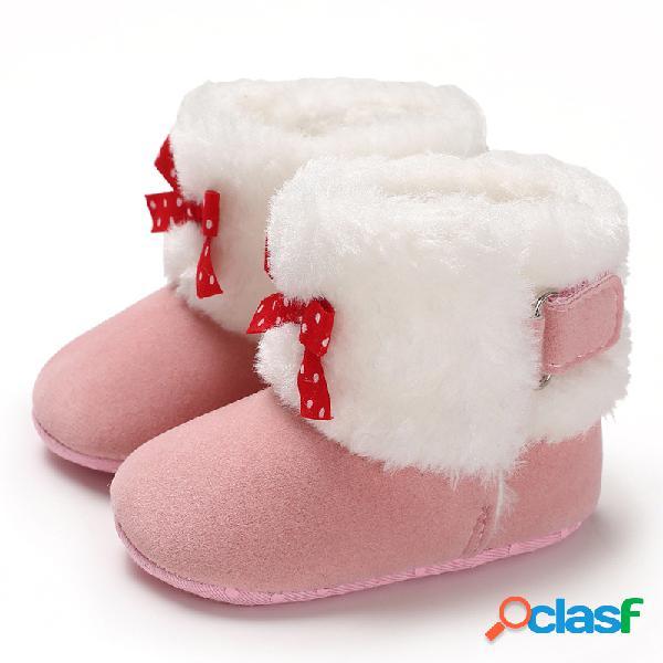 Zapatos de bebé para niños pequeños decoración con lazo lindo cómodo felpa cálida soft suela gancho loop snow botas