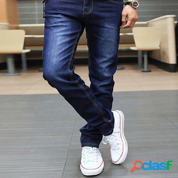 Pantalón jeans de talla grande ajustados sólidos para hombre