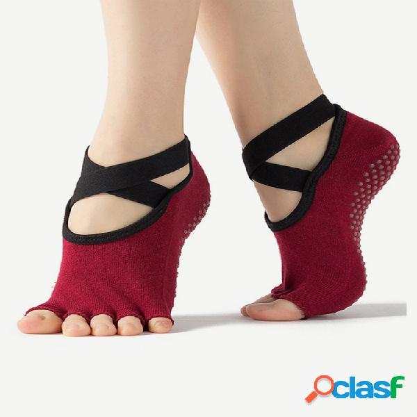 Mujer vendaje yoga antideslizante de secado rápido ballet pilates punta abierta algodón calcetines