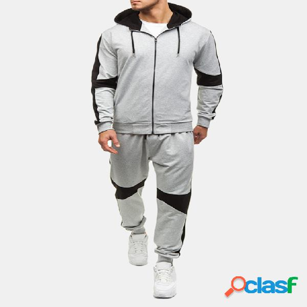 Hombre casual sport patchwork hit color running traje de moda con capucha