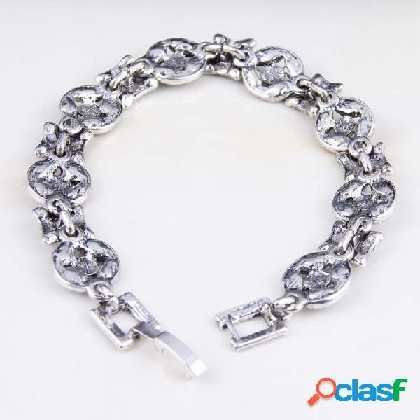 Pulsera de rubí de plata bohemia forma de moneda antigua pulseras de diamantes de piedras preciosas multicolor para mujer