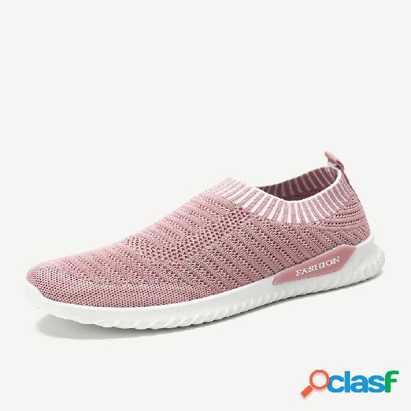 Mujer calcetines deportivos de malla casual rosa zapatillas