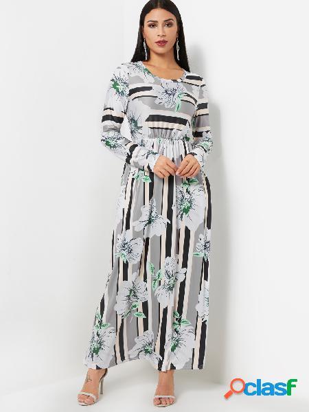 Cuello redondo vestido largo de manga larga con estampado floral al azar maxi en gris