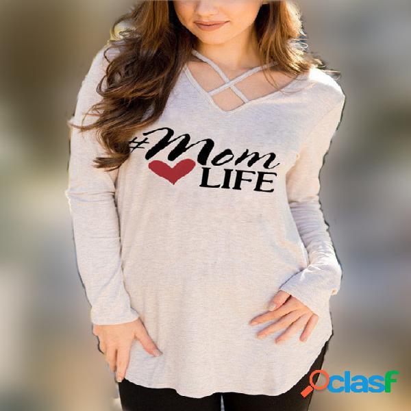 Camiseta de manga larga con cuello en pico y estampado de letras en albaricoque