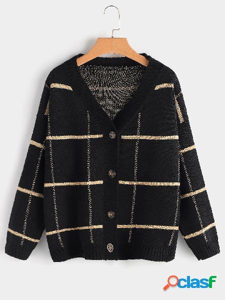 Talla grande, botón de rejilla negro, chaqueta de punto delantera