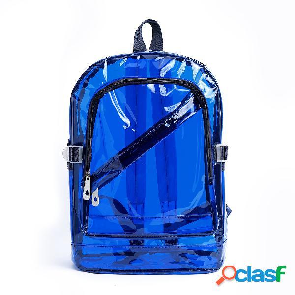 Mochila de pvc transparente azul de moda