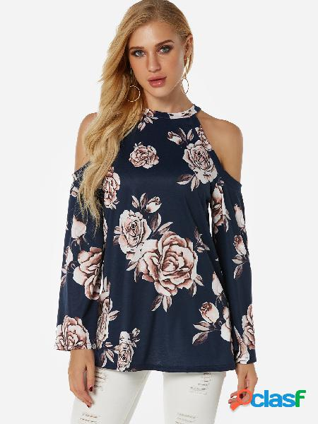 Blusa de manga larga con hombros descubiertos y estampado floral azul marino