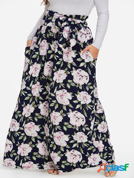 Talla grande con estampado floral en el bolsillo falda larga de cintura alta