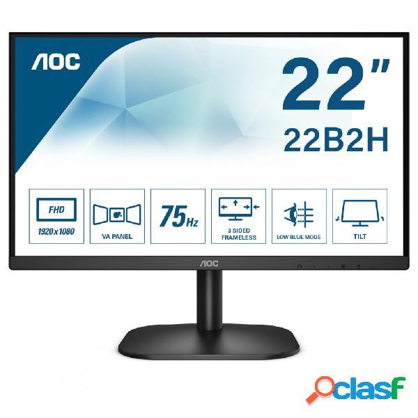 "Monitor aoc 22b2h led 21.5"", full hd, widescreen, 75hz, hdmi, negro"