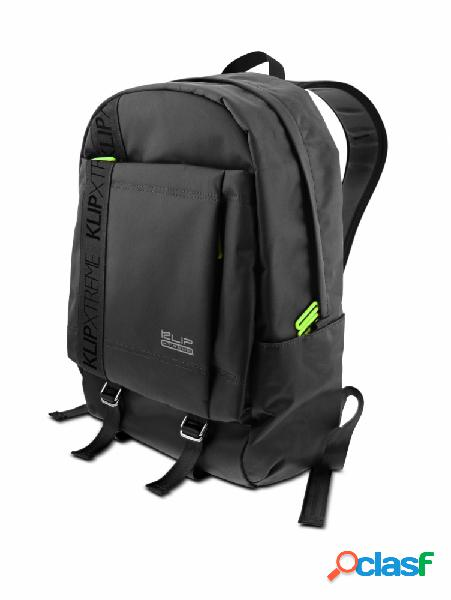 "Klip xtreme mochila de nylon signature para laptop 15.6"", negro/verde"