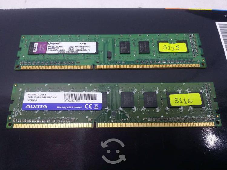 2 memorias ram ddr3 2gb cada una